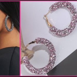 NEW! Pink glitter iridescent statement hoops